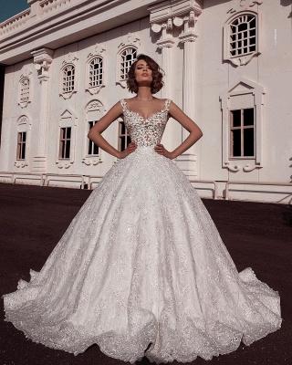 Glamorous Ball Gown Spaghetti Straps Sleeveless Lace Applique Long Wedding Dress BC2482_2