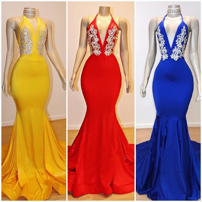2019 Cheap V-Neck Mermaid Appliques Prom Dresses | Elegant Halter Sleeveless Evening Dresses_2