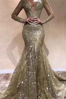 Elegant Mermaid V-Neck Long Sleeves Sequins Long Prom Dress_1