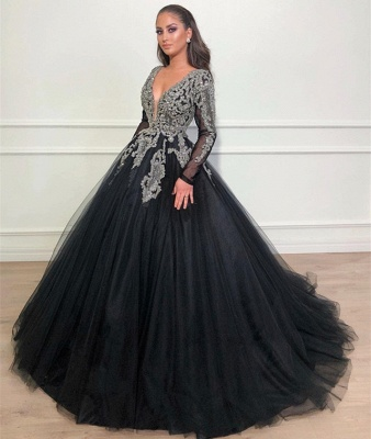 Deep V-Neck Long Sleeves Appliques Overskirt Black Ball Gown Long Prom Dress_3