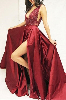 Burgundy A-line Sleeveless V-Neck Applique Side Slit Long Prom Dress_1