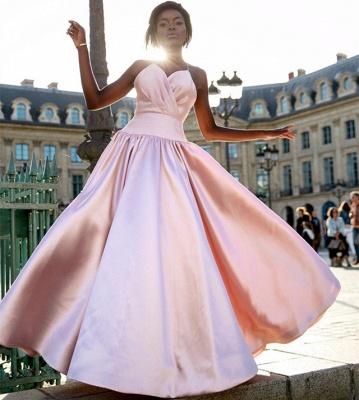 Elegant Simple Pink Spaghetti-Straps Prom Dresses | 2019 Sleeveless A-Line Ruffles Cheap Evening Dresses_2