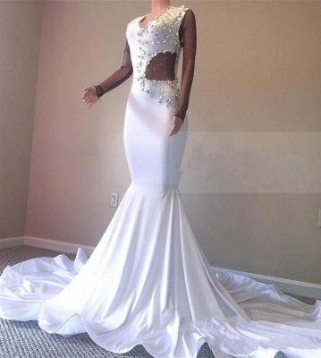 Crystal Beading White V-neck Sweep Train Mermaid Evening Gowns_4