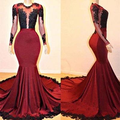 Long Sleeves Mermaid Appliques Sheer Prom Dresses_3