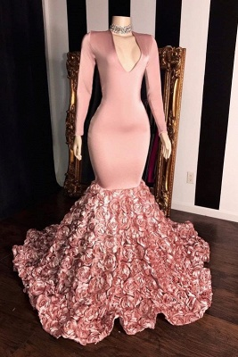 Pink Long Sleeves Flowers Mermaid Prom Gowns | 2019 Elegant V-Neck Evening Dress_1