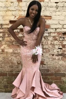 Pink Gorgeous Mermaid Strapless Ruffles Crystal Long Prom Dress_1