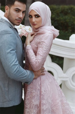 Pink Detachable Long-Sleeves Prom Dresses | Cheap Appliques Lace Mermaid Evening Gowns_2