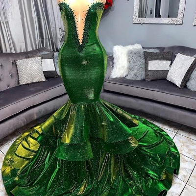 Green Gorgeous Ruffles Mermaid Prom Dresses | Sexy Sweetheart Appliques Long Evening Dresses_2