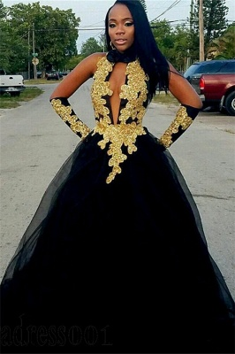 Chic Gold Appliques Ball Gown Prom Dresses | Elegant Black Halter  Evening Gowns_1