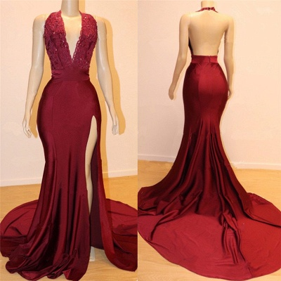 Sexy Backless Burgundy Prom Dresses with Slit | V-neck Halter Affordable Evening Gowns with Court Train_2