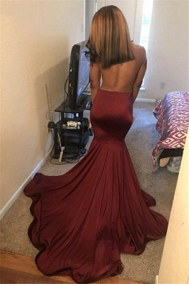 Burgundy Long Sleeves Open Back Mermaid Prom Dresses | Cheap See-Through Appliques Evening Gowns_1