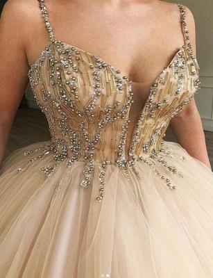 Glamorous Ball Gown Spaghetti Straps Beaded Long Prom Dress_2