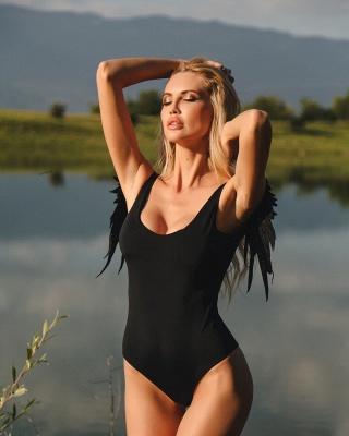 Women One Piece Swimsuit Solid High Cut Swimwear |  Wing Bathing Suit_4