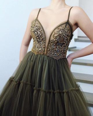 Elegant Side Slit Spaghetti Straps  Long Prom Dress_2