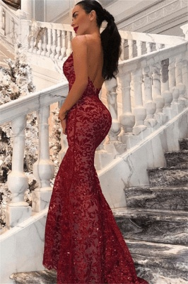 New Arrival V-Neck Lace Open Back Mermaid Long Prom Dress_3