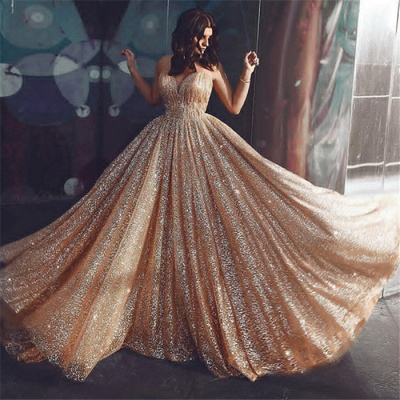 Champagne Elgant A-line Spaghetti Straps Backless Sequins Long Prom Dress_3