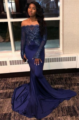 Navy Blue Appliques Long Sleeveless Prom Dresses | Sexy Off The Shoulder Mermaid Evening Gowns_2
