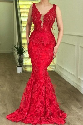 Sexy Red Mermaid Sleeveless Lace Appliques Long Prom Dress_2