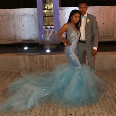 Mermaid Sheer Straps Applique  Sexy Long Prom Dress_3