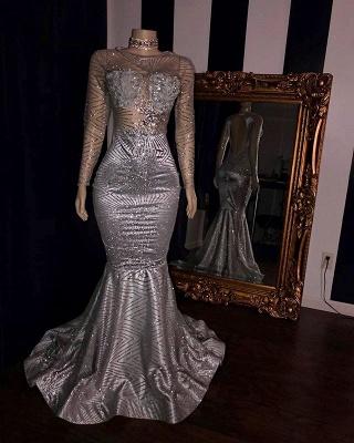 Elegant Appliques Sheer  Prom Dresses | Sliver Long Sleeves Mermaid Evening Gowns_2