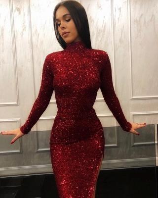 Burgundy Sheath High Neck Long Sleeves Sequins Side Slit Long Prom Dress_2