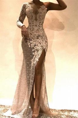 Glamorous Sheath One-Shoulder Side Slit Lace Long Prom Dress_1