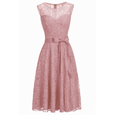 Affordable A-line Sleeveless Burgundy Lace Dresses with Bow_1