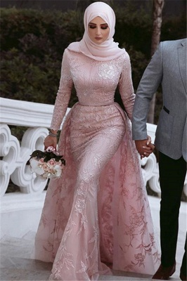 Pink Detachable Long-Sleeves Prom Dresses | Cheap Appliques Lace Mermaid Evening Gowns_3