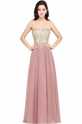 Cheap Sheer Tulle A-line Chiffon Beads Lace Appliques Sleeveless Long Evening Dress in Stock_1