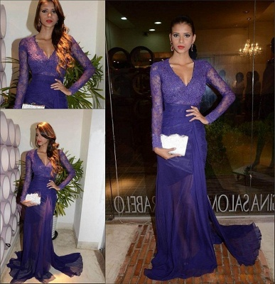 Glamorous Sheath V-Neck Long Sleeves  Applique Long Prom Dress_2