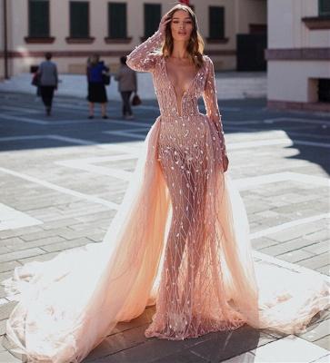Elegant Mermaid Deep V-Neck Long Sleeves Crystal Long Prom Dress With Detachable Skirt_3