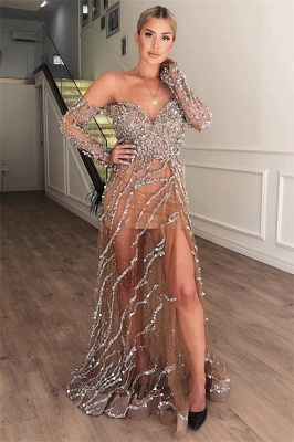 Gorgeous A-Line Sweetheart Off The Shoulder Crystal Appliques  Long Prom Dress_1