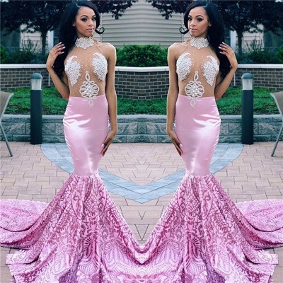 Sexy Pink Mermaid High Neck Sleeveless Sheer  Applique Long Prom Dress_3