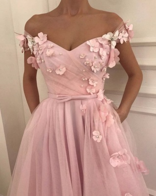 Pink Flowers A-Line  Long Cheap Prom Dress | Elegant Off-the-Shoulder Evening Gowns_2