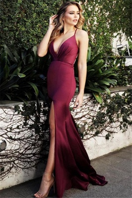 Burgundy Spaghetti-Straps V-Neck Evening Dress | Cheap Side-Slit Sleeveless Sheath Prom Dresses_1