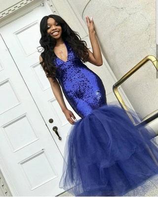 Sexy Navy Blue Mermaid Sequins Prom Dresses | Cheap  Sleeveless V-Neck Evening Dresses_2