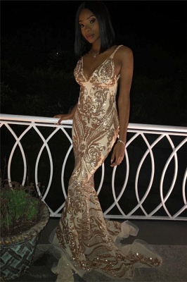 Sexy V-Neck Spaghetti Straps Sleeveless Gold Appliques Mermaid Long Prom Dress_3