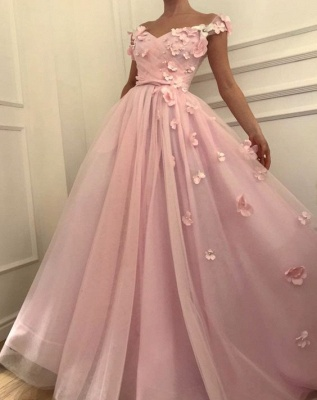 Pink Flowers A-Line  Long Cheap Prom Dress | Elegant Off-the-Shoulder Evening Gowns_4