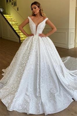 Gorgeous Off The Shoulder Appliques Long Wedding Dress_1