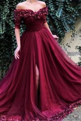 Burgundy A-line Off The Shoulder  Flower Applique Long Prom Dress_1