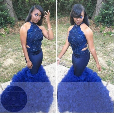 Royal Blue Halter Sleeveless Prom Gown   Sexy Flower Appliques Mermaid Evening Dress_2