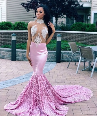Sexy Pink Mermaid High Neck Sleeveless Sheer  Applique Long Prom Dress_2