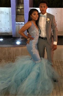 Mermaid Sheer Straps Applique  Sexy Long Prom Dress_4