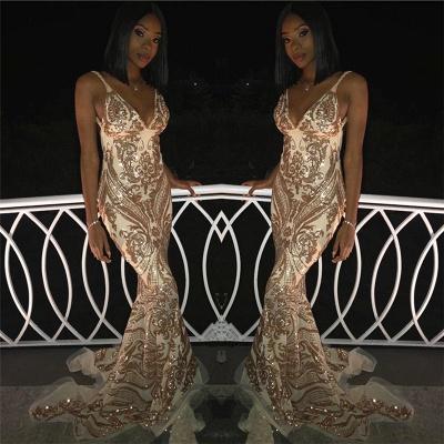 Sexy V-Neck Spaghetti Straps Sleeveless Gold Appliques Mermaid Long Prom Dress_2