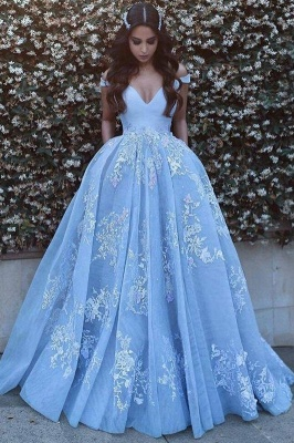 Romantic Ball Gown Prom Dresses Off-the-Shoulder Baby Blue Lace Appliques Evening Gowns_3