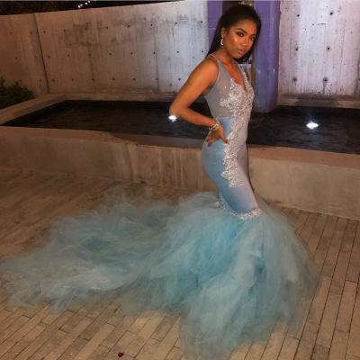 Mermaid Sheer Straps Applique  Sexy Long Prom Dress_2
