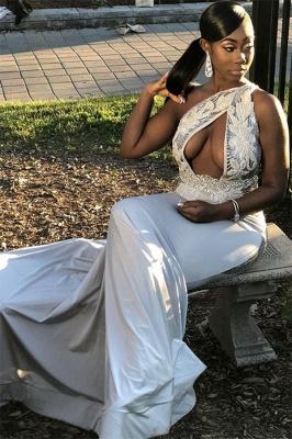 Fashion Sexy Sheath One Shoulder Applique Long Prom Dress_1