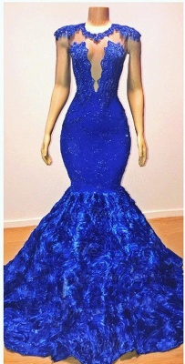 2019 Royal-Blue Flowers Mermaid Long Evening Gowns | Glamorous Sleeveless With lace Appliques Prom Dresses_2