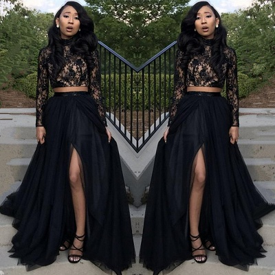 Lace Black Newest Front-Split Two-Piece Long-Sleeve Prom Dress_3