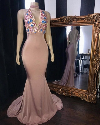 Pink Flowers Appliques Mermaid Long Prom Dresses | Glamorous Sleeveless V-Neck Evening Gowns_2